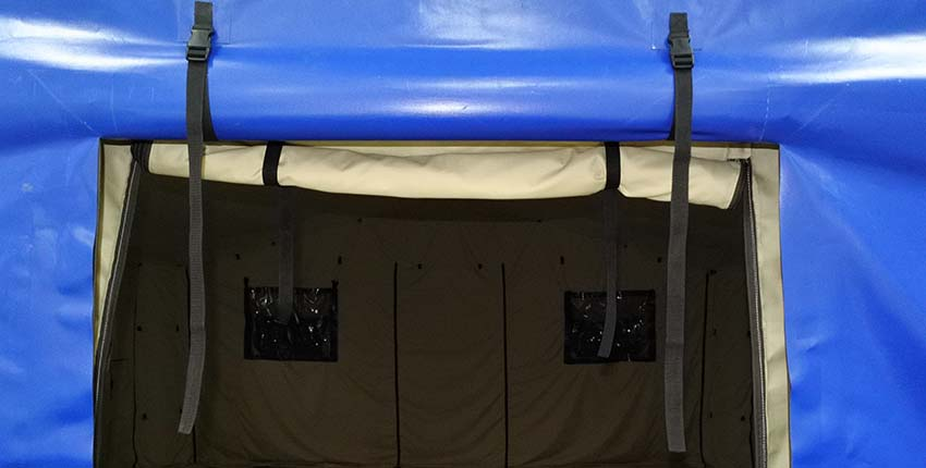 Door of Universal modular inflatable tent shelter TENTER UMT type outside view