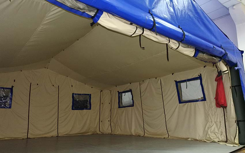 Modular inflatable tent shelter TENTER UMT type with open wall