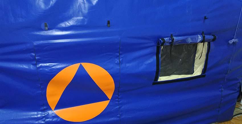 Window and door of Universal modular inflatable tent shelter TENTER UMT type