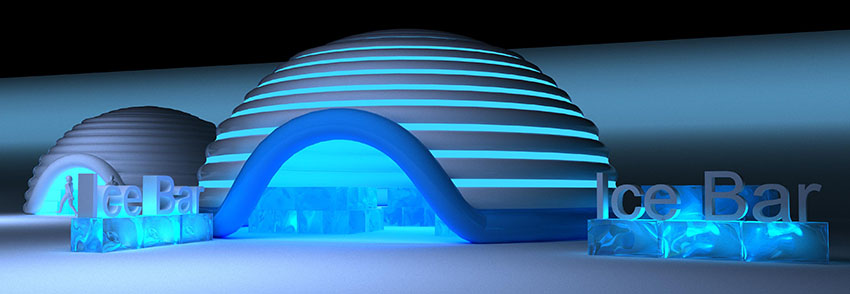 Inflatable building Ice Bar TENTER 90 sq.m