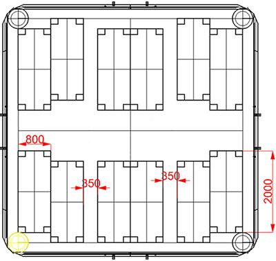 Plan of modular inflatable tent TENTER UMT
