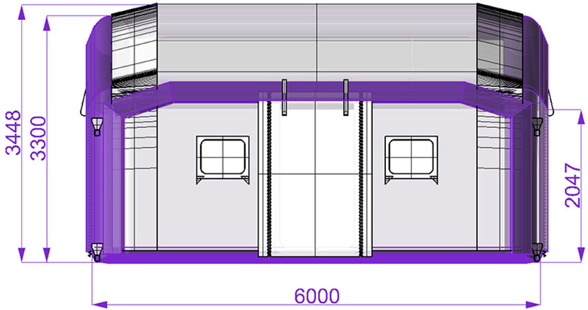 Universal modular tent TENTER UMT, side view