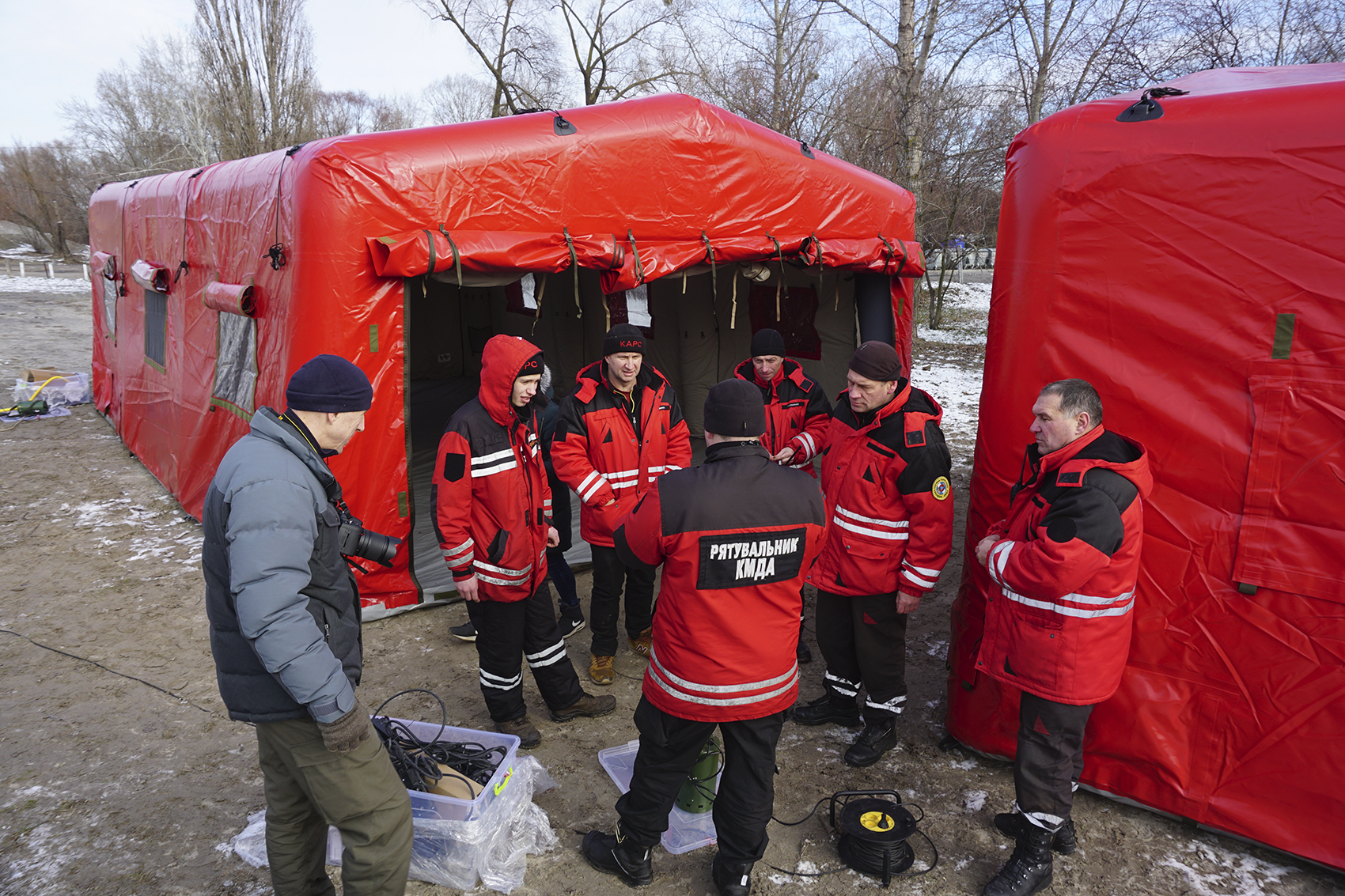 Inflatable air frame tents for Kyiv Rescue Service