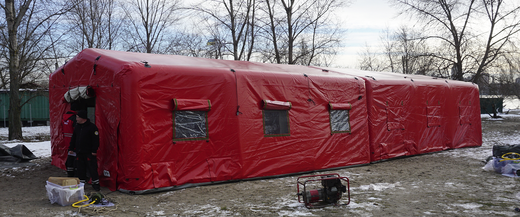 Inflatable airframe tents with interconnection system for Kyiv Rescue Service